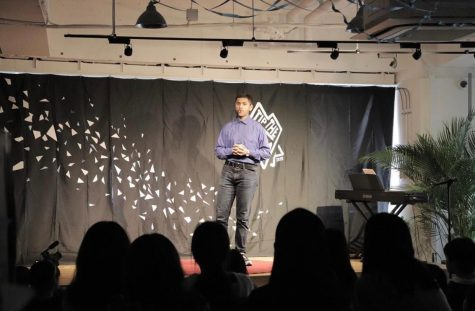 IISJ's Samran Shahid takes the stage during TedxYouth@Tokyo.  Below, Shafi Tasheed talks about all the bad first impressions he has made in his lifetime.