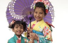 Jahnavi with her sister, wearing traditional Japanese kimonos.